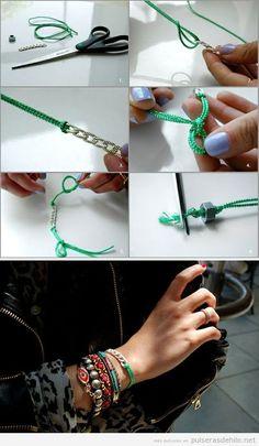 Tutorial paso a paso, pulsera DIY con cuerdas y cadenas