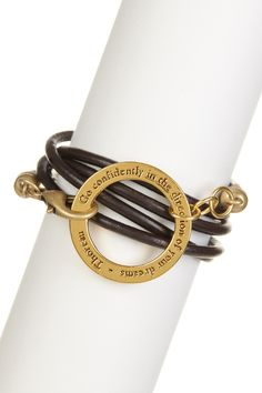 """""""Go confidently in the directions of your dreams"""" -Thoreau Leather Wrap Bracelet"""