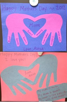 Mothers Day Project - Fold paper in half. Trace one hand and make sure thumb and pointer finger is a little over crease. Then cut.  Super easy card project!