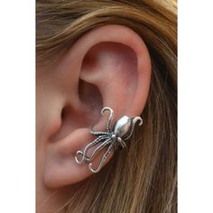 Ear Cuff Steampunk Octopus- Sterling Silver SINGLE SIDE ❤ liked on Polyvore featuring jewelry, earrings, ear cuff jewelry, sterling silver jewellery, octopus earrings, steam punk jewelry and steampunk earrings