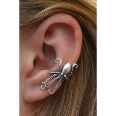 Ear Cuff Steampunk Octopus- Sterling Silver SINGLE SIDE ❤ liked on Polyvore featuring jewelry, earrings, ear cuff jewelry, sterling silver jewellery, octopus earrings, steam punk jewelry and steampunk earrings