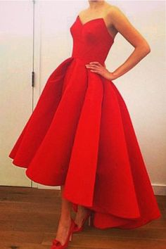 Sweetheart Strapless A-Line High Low Red Prom Dresses Evening Dresses PG327
