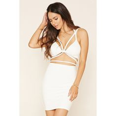 Forever 21 Women's  Strappy Cutout Dress ($30) ❤ liked on Polyvore featuring dresses, white dress, halter neck dress, white halter top, halter top and white halter cocktail dress