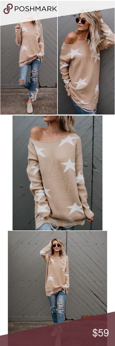 """🆕 Ari Distressed Star Sweater **Please note: This item ships 10-8-17 -- LIMITED QUANTITY AVAILABLE**                                                      The camel hue combined with ivory stars throughout this sweater creates a bold contrast that would be perfectly stylish with black skinnies and black booties for a little edge!  Distressed Hemline Unlined  Size Small: 31"""" from shoulder to hem (S M L available) 65% Acrylic, 25% Nylon and 10% Polyester Model is 5'7"""" and wears a Small A…"""