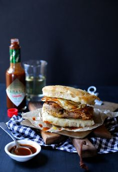 crispy chicken slider with fried egg and chipotle tabasco