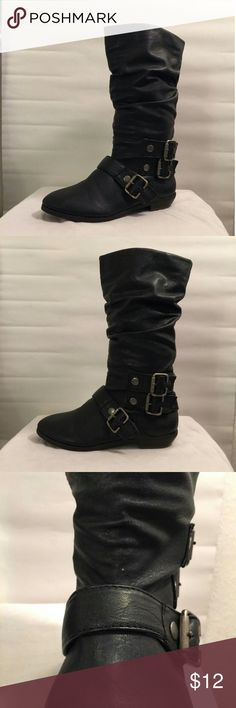 Material Girl faux leather Sheriff boot Boots are pull over. Only wore our once. Have tiny white mark in front of left boot. Can hardly see it when on. Shaft is 11in. Heel height 1in.  Open to offers⭐ Please feel free to ask questions Material Girl Shoes Heeled Boots