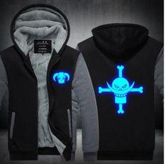 One Piece Straw Luminous White beard hat Monkey D. Luffy law ace winter fleece jacket coat hoodie