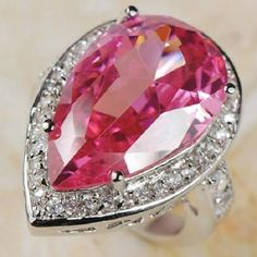 Awesome-HUGE-Pink-Topaz-White-Topaz-Ring-925-silver-size-9