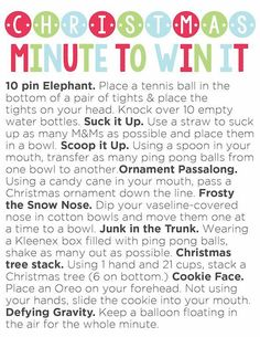 Minute to Win It Party (Plus Printable) Christmas Minute to Win It Party (Plus Printable). Fun games for class parties and family parties!Christmas Minute to Win It Party (Plus Printable). Fun games for class parties and family parties! Xmas Games, Holiday Games, Holiday Fun, Christmas Party Games For Groups, Holiday Ideas, Abc Games, Adult Games, Xmas Party, Holiday Parties