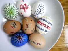 Stitching on eggs By Craft Gossip -- see more at LuxeFinds.com