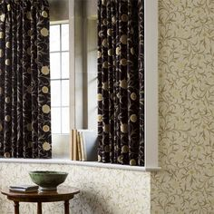 Shop for Fabric at Style Library: Scroll by Morris & Co. Gently meandering leaves and marigold flowers trail over a coloured background on a . Designer Wallpaper, Painted Rug, Red Curtains, Interior Styling, House Styles, Curtains, Red Fabric, William Morris, Fabric