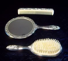 Silver Plated Vanity Set by DayJahView on Etsy, $90.00