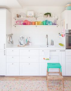 The Sprinkle Factory Studio Kitchen Reveal! Step inside my colorful sprinkle filled baking kitchen! Grab some baking supply organization ideas, be ready to get inspired. I The Sprinkle Factory Baking Organization, Kitchen Organisation, Home Organization, Organizing Ideas, Organising, Baking Supplies, Kitchen Supplies, Baking Tools, Craft Supplies
