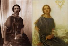 Alphonse Mucha - Portrait Of Jaroslava c.1930    Alphonse Mucha - Portrait Of Jaroslava, Mucha's daughter c.1930    Pictured alongside Mucha's own black & white photograph study for the painting.