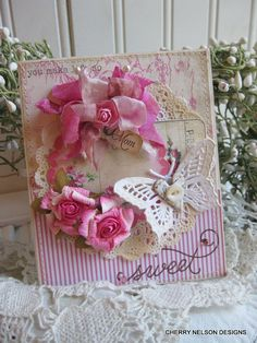 shabby butterfly card- MOTHERS day-you make life so SWEET MOM handmade stitched card