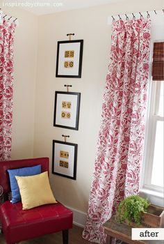 LOVE the picture hanging and curtain hanging