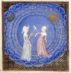miniatura di Christine e Sibilla in piedi in una sfera del cosmo, con la luna, il sole e le stelle che le circondano, da 'Le livre du chemin de long estude', Christine de Pizan,.jpg (800×822)