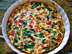Egg White Frittata with Spinach, Mushrooms, and Roasted Tomatoes