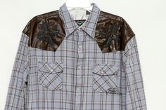 Fender Custom Shop Men's Long Sleeve Faux Leather Pearl Snap Shirt Size XXL  #Fender #fashion