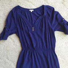 "Shoshanna purple Silk Shirt Dress EUC. No stains or tears. Elastic waist. Roll tab sleeve. Bust 38"" waist 28""-32"" Length 33"" Shoshanna Dresses Mini"