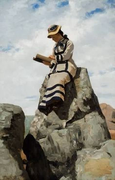 Reading on the Rocks Grand Manan, John George Brown (1877)