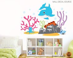 DOLPHIN WALL DECAL - CORAL REEF VINYL STICKERS
