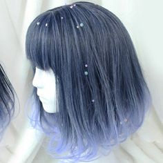 Gradient Dark Navy to Light Blue Wig Short Dark Navy to Light Blue Gradient Cosplay Wig Ginger Hair Color, Hair Color Blue, Cool Hair Color, Green Hair, Silver Blue Hair, Light Blue Hair, Blue Gray Hair, Blue Ombre Hair, Blue Lace