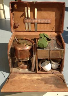 Can be a travel coffee-tea case; G W S Sons England Antique Picnic Leather Trunk set Circa 1910