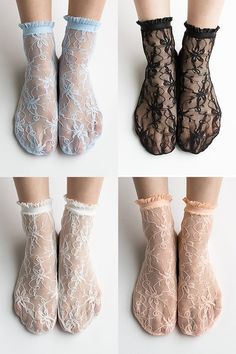 Women New Hezwagarcia Nylon Spandex Floral Mesh Sheer Lace 4 Colors Ankle Nylon Wedding Socks Set