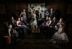 Matt Shumate Photography dramatic wedding party photo at the Red Lion Inn in Spokane
