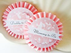 Baby Shower Decoration Adorable Mommy and Daddy to Be Party Badge. (or sash)