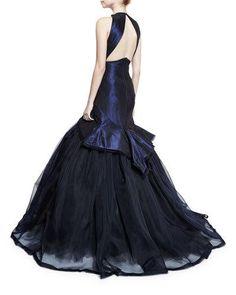 B3G2Q Zac Posen Sleeveless V-Neck Mermaid Gown, Navy