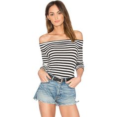 1. STATE Off Shoulder Striped Top (€65) ❤ liked on Polyvore featuring tops, fashion tops, stripe top, off the shoulder tops, white off the shoulder top, striped off-the-shoulder tops and striped off the shoulder top