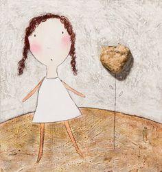 Original  Girl with Stone Heart $75 | #CarlaSonheim
