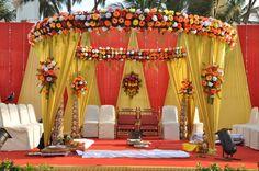 1 color scheme of indian wedding mandap swastika the event organizer Indian Wedding Decorations, Ceremony Decorations, Flower Decorations, Backdrop Decorations, House Decorations, Decor Wedding, Diy Wedding, Wedding Gifts, Indian Wedding Stage