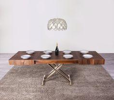 La table relevable Ultra est ici dans sa version repas : elle se replie en table basse pour salon #gaindeplace #mobilier #modulable
