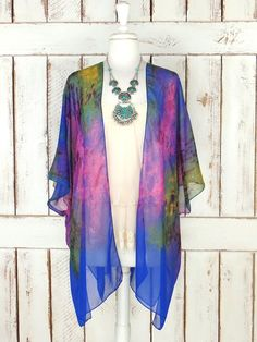 Blue/purple/yellow/green watercolor bohemian sheer silk kimono cardigan/sheer colorful cover up blouse/gypsy festival top/one size  Features…