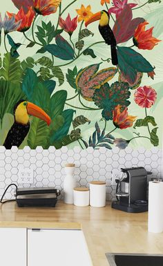 Tropical Forest designed by Mariana Rodrigues #wallart #walldecor #wallpaper #decor #interiordecoration #interiors #interiorideas #tropical #wallmural  #urbanjungle #tropicalephoria #interiordecor #decorideas #decor #illustrator #designer #parrot