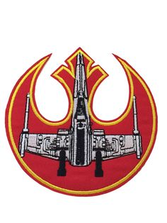 """Star Wars Rebel Alliance Symbol and X-Wing 4 """" Wide Embroidered Iron On Patch Patch Measures Approx. 4 Inches Wide by 4 Inches Tall Patch can be sewn, ironed or glued on. (Check out our Store for more"""