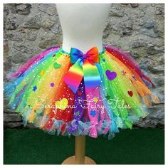 Girls Rainbow Tutu Skirt Costume Cake Smash or Gala Outfit. Birthday Party Colourful and Bright Petti Tied Christmas