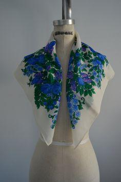Vintage Japanese Blue Floral 100% Pure Virgin Wool Scarf.