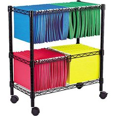 "Alera Two-Tier Rolling File Cart, 26""W X14""D x 29-1/2""H, Black"