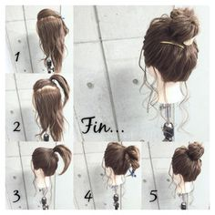 Top in ponytail, gather lower layers and combine with the first ponytail. Twist around itself and pin Plaits Hairstyles, Work Hairstyles, Pretty Hairstyles, Wedding Hairstyles, Medium Hair Styles, Short Hair Styles, Hair Due, Hair Arrange, Hair Inspiration