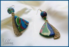 Polymer Clay Earrings  India's Mohawk by SomewhatOdd on Etsy