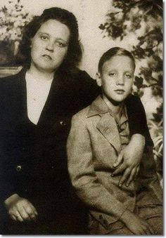 Glady Presley with her son Elvis. As an only child, Elvis became close to both parents and formed an unusually tight bond with his mother. The family attended an Assembly of God church where he found an outlet for his  musical inclinations