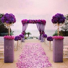 Purple wedding reception