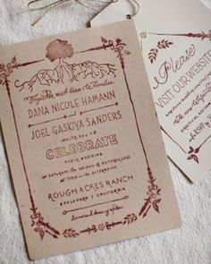 Stamped invitation- use a stamp on Kraft paper to save money!