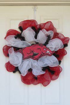 Razorback Deco Poly Mesh Wreath by CreativTreat on Etsy, $45.00