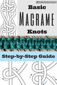 Interested in learning the basics of macramé? Here's an illustrated guide of the most common knots used in macramé. knots Basic Macramé Knots: Step by Step Guide · Life Adorned Macrame Wall Hanging Diy, Macrame Plant Hangers, Micro Macramé, Macrame Jewelry, Macrame Bracelets, Loom Bracelets, Friendship Bracelets, Diy Jewelry, Macrame Bag