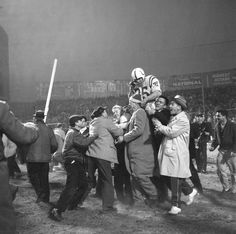 Alan Ameche is carried off the field after scoring the winning touchdown in overtime in the 1958 World Championship game against the New York Giants. Football Photos, Sport Football, College Football, Giants Football, Football Stuff, Nfl Championships, Championship Game, Sports Images, Sports Photos